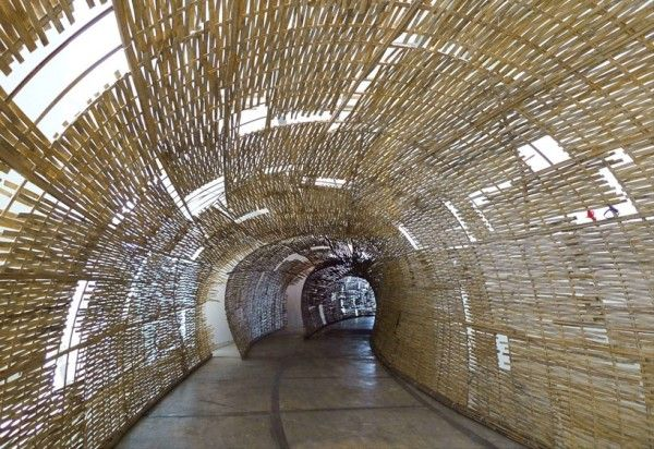 Wormhole, Conical Bamboo Structures by Eko prawoto