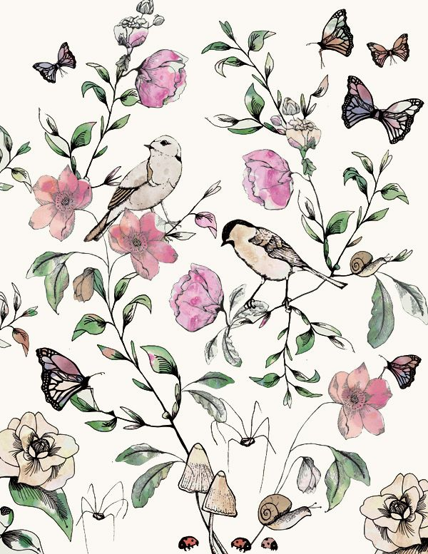 Secret Garden Print by Hackney & Co http://hackneyandco.wordpress.com Available on Gift wrap, Wallpaper and Fabric through Spoonflower.com