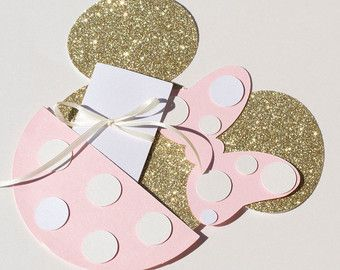 Minnie Mouse Invitation Gold and Pink Glitter Gold