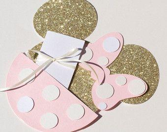 Color de rosa y oro Minnie invitaciones por NiftyKreations1 en Etsy