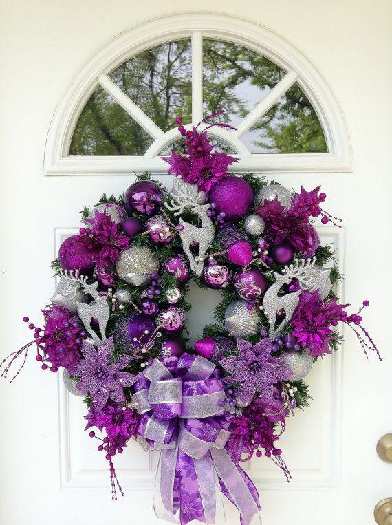 Purple Silver Christmas Wreath by ViennaSparkleWreaths on Etsy, $169.00