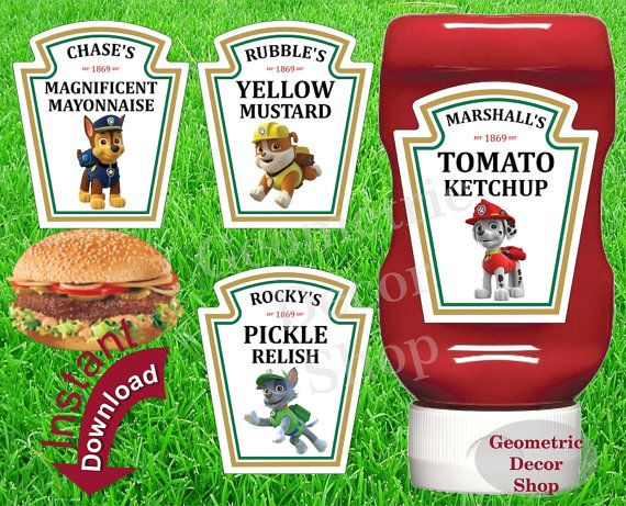 Condiment Labels Paw Patrol Digital File Instant Download Printable Marshall Skye Everest Chase Ketchup Bottle Mayo Relish Mustard #KLPP1