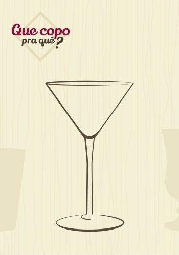 Taça martini ou coquetel: a haste longa da taça evita que a temperatura da mão esquente o líquido. Como o próprio nome diz, é utilizada para servir Dry Martini (gim e vermute seco com um twiste de limão, uma folha de hortelã ou uma azeitona verde em um copo hipergelado), mas pode comportar outros coquetéis. Sua forma (Y) agrega charme à bebida