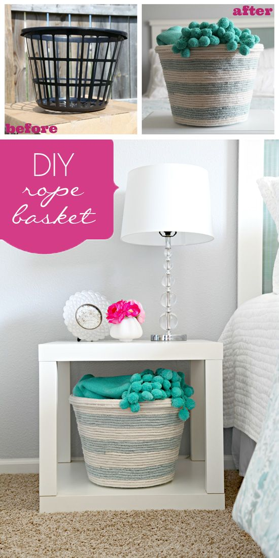 BASKETS & BINS :: DIY Rope Basket Tutorial :: This was made w/ a DOLAR STORE laundry basket! Instead of white rope, you could use sisal rope, jute or thick twine, too for a more natural look. LOVE THIS IDEA! | #basket #iheartorganizing