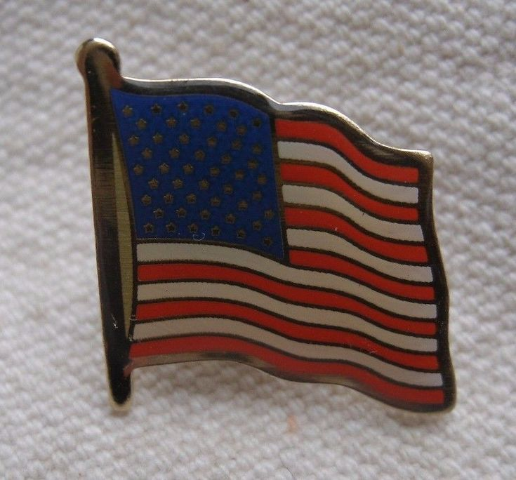 American Flag Lapel Pin,enameled colors,silver metal,1990s,tie tack -patriotic