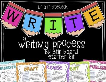 "This writing process bulletin board set will be the perfect addition to your classroom when teaching writing! This set includes:1. ""Write"" banner (full page and half page sizes included)2. Objective header3. ""I can"" statement header4. Writing process posters (brainstorm, draft, revise, edit, publish)5."