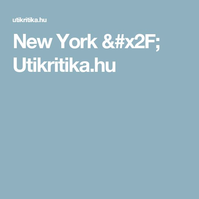 New York / Utikritika.hu