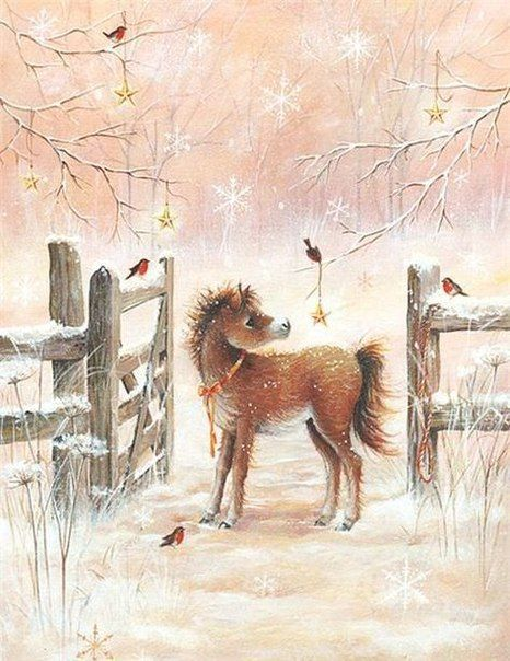 Sweet little painting of pony (foal) standing in the snow by the snow colored fence with little birds about and big painted snowflakes falling from the sky. Adorable! Just peachy, litteraly. By Sarah Summer. Please also visit www.JustForYouPropheticArt.com for more colorful art you might like to pin. Thanks for looking!