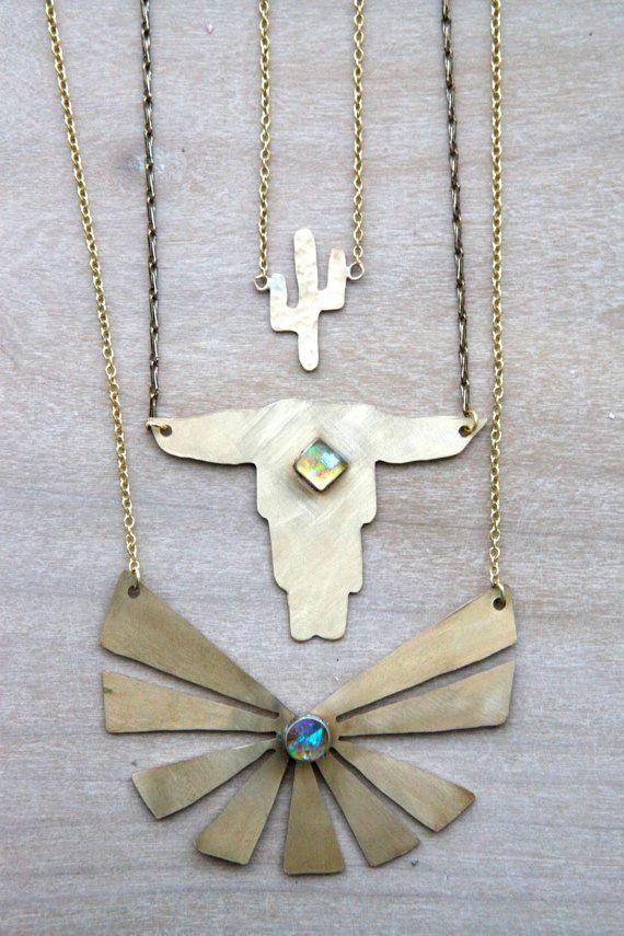 tiny brass cactus necklace southwest navajo by Blydesign on Etsy, $35.00