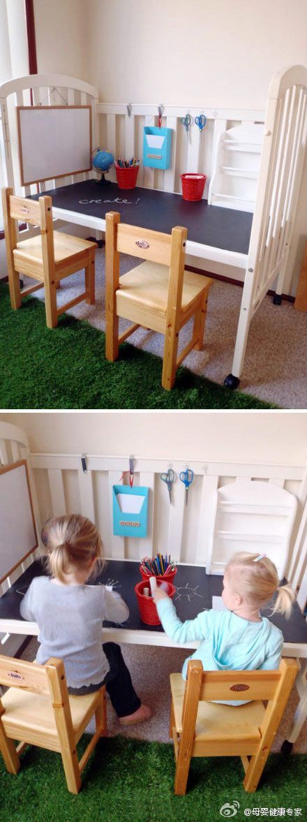 I LOVE this idea!! I think Im going to do it, my youngest just started using his toddler bed so now I have an extra crib!!! <3