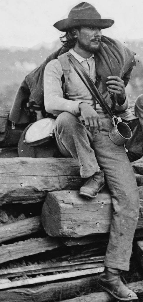 Confederate prisoner after the battle of Gettysburg (detail, Mathew Brady, July 3, 1863).