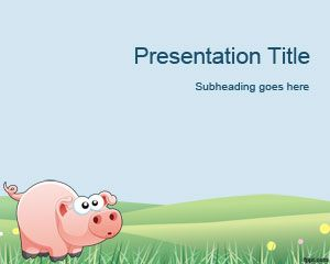 Free Pig PowerPoint template is a funny cartoon PPT template and slide design with a pig and country background