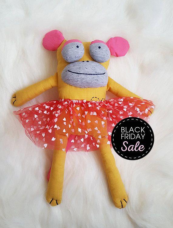 Black Friday Sale lovely monkey ballerina cuddly, Stuffed animals & plushies, plushie with clothes, christmas and birthday gift, gift idea by KAKUMAstore on Etsy