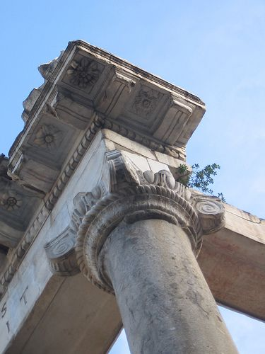 Corner detail from the Temple of Saturn, Roman Forum, Rome [squared firmament symbolism on the ceiling]