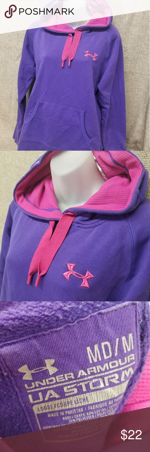 Ladies Under Armour Storm loose hoodie purple pink Gently pre owned. Non smoking home. #24 Under Armour Tops Sweatshirts & Hoodies