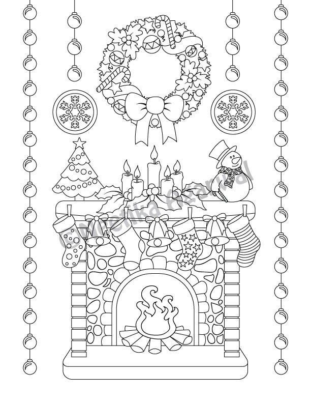 christmas mantel christmas scene adult coloring page christmas coloring page printable. Black Bedroom Furniture Sets. Home Design Ideas