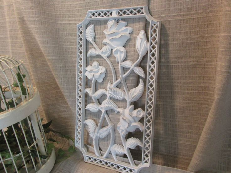Lovely, Wrought Iron Look,Wall Decor, Distressed White, Cottage Chic, French Country, Victorian, Wall Decor, Interior, Exterior wall decor by ClassicMontage on Etsy