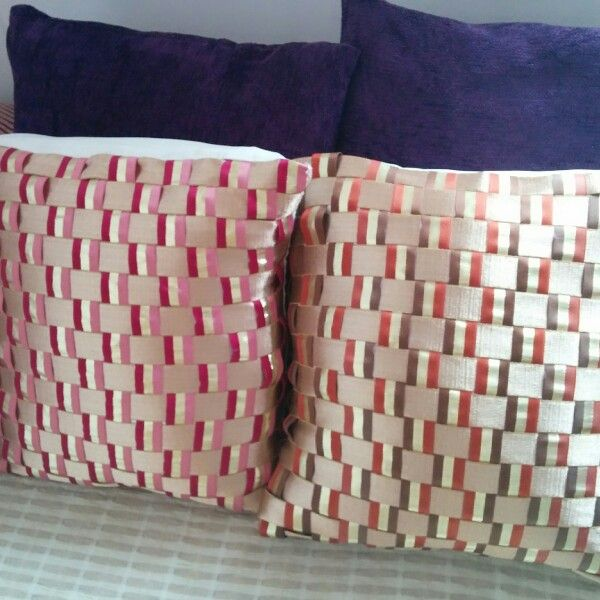 #DIY Pillow Covers# Woven Ribbons Style