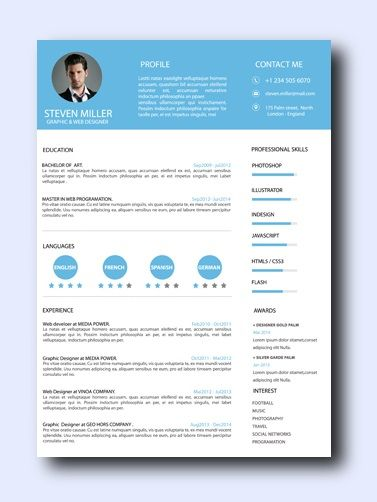 Blue SkyThis creative resume template can be used for a wide variety of careers such as Marketing, Design, Business, or IT.