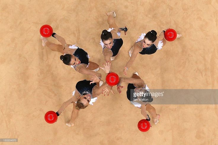 Spain perform with the ball during the Group All-Around Rhythmic Gymnastics Final Rotation on Day 16 of the London 2012 Olympic Games at Wembley Arena on August 12, 2012 in London, England.