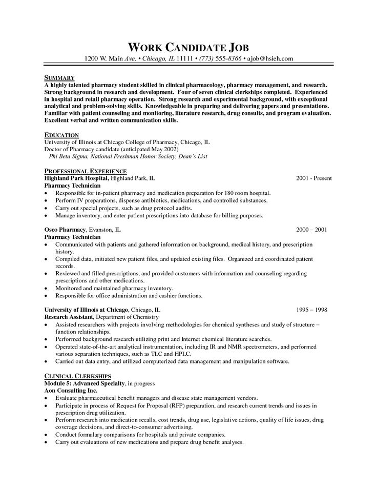 22 best resume templets images on Pinterest A well, To work and - resume for pharmacy technician