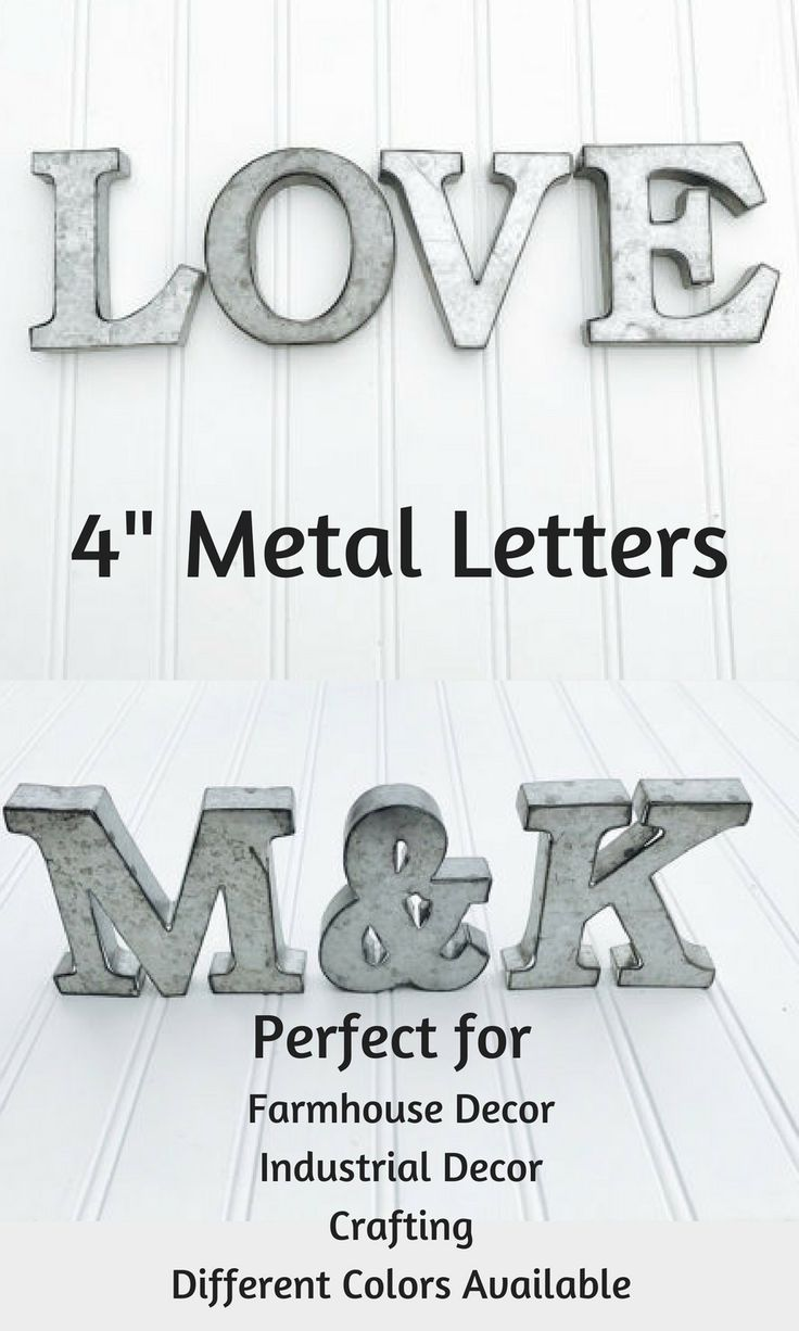 """These mini 4"""" hollow Metal Letters are a fun accent to many different types o decor. The letters are available in many different colors too which help to make them so versatile. Perfect for Farmhouse Decor, Industrial Decor, Crafting, Baby's Room and so much more! #lettering #metal #letters #ad #farmhouse #industrialdecor #crafting"""