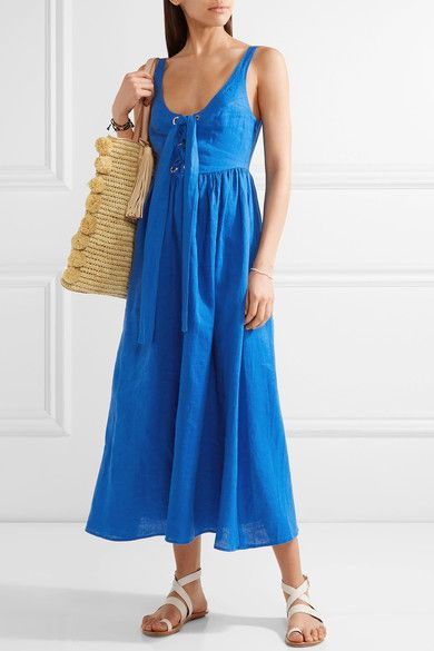 Bright-blue organic linen Concealed hook and zip fastening at side 100% organic linen; lining: 100% viscose Dry clean