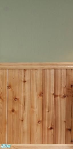 FluffyAuntyDi's Knotty Pine Half Wall Paneling/This kind of paneling, color green, and a border