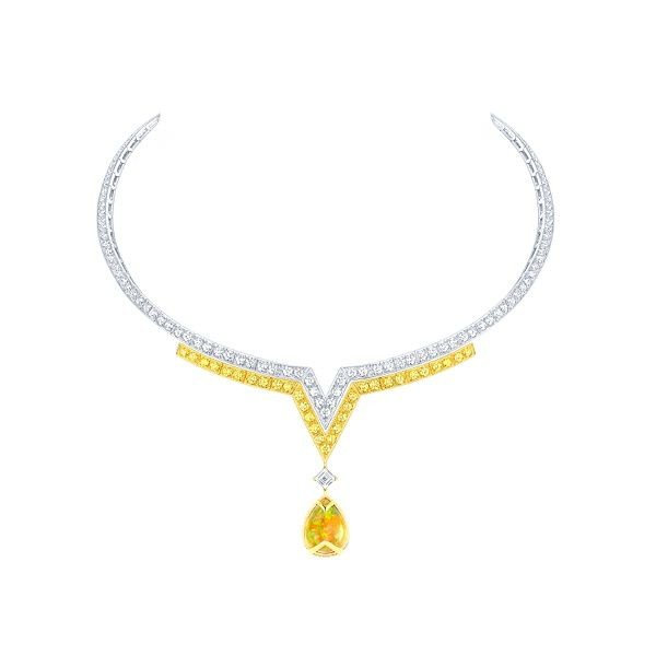 Louis Vuitton Apotheosis necklace in white and yellow gold with white and yellow diamonds, and one Mexican opal, price upon request For info...