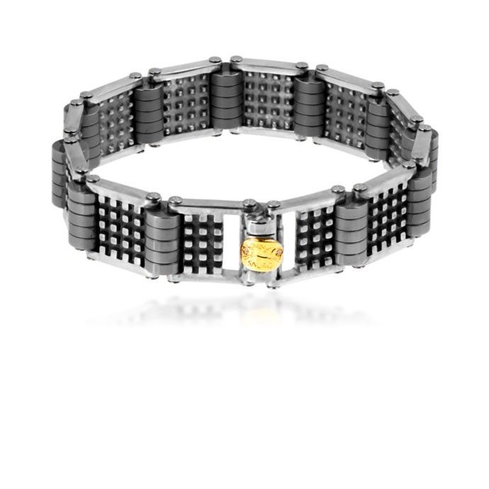 This sterling silver and titanium bracelet comes with 18k yellow gold and diamonds logo.