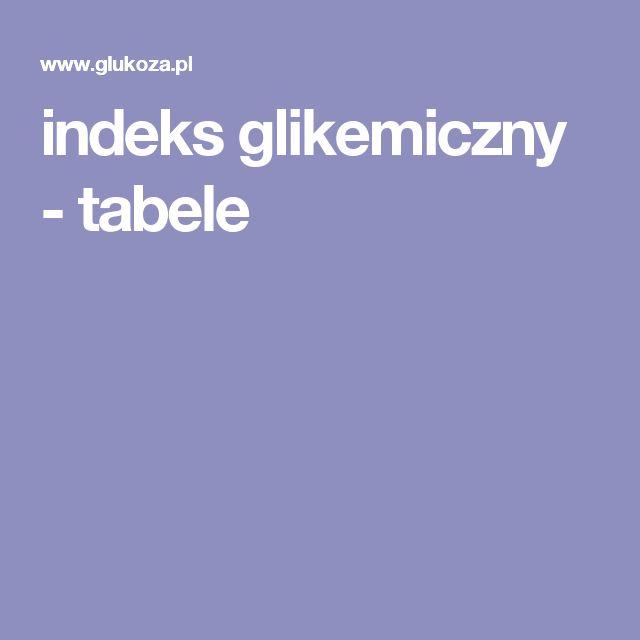 indeks glikemiczny - tabele