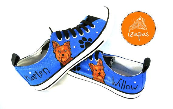 Hand painted Yorkshire Terrier sneakers  This listing is for one pair of custom, hand painted shoes. The listing images are of previous pairs Ive painted for a happy customer. Have the name of your dog painted on the shoe and a few rhinestones (just 2 or 3 each side) to add a bit of extra sparkle (included in the price!)...add your requirements in Notes to Seller upon purchasing. If you require lots of bling and sparkle with LOTS of rhinestones and sparkly silver metallic laces, then you…
