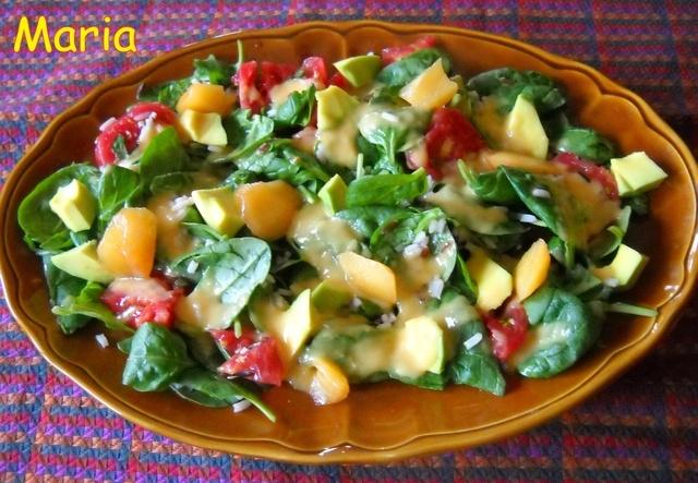 Ensalada de espinacas con vinagreta de nectarina