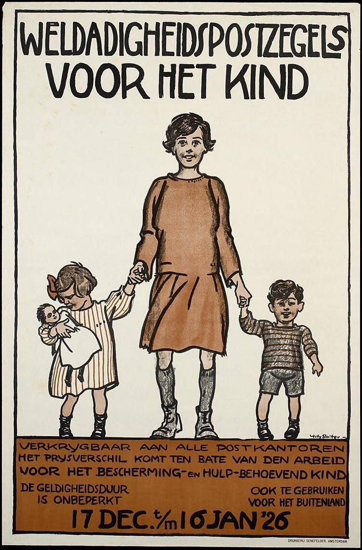 Willy Sluiter, 1926  Affiche, lithographie sur papier  action sociale d'Amsterdam