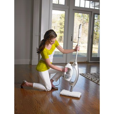 The Shark Profession Steam Pocket Mop. This steamer/steam cleaner is fantastic and has a built-in portable hand-held steamer with attachments to get in to all those nooks & crannies.