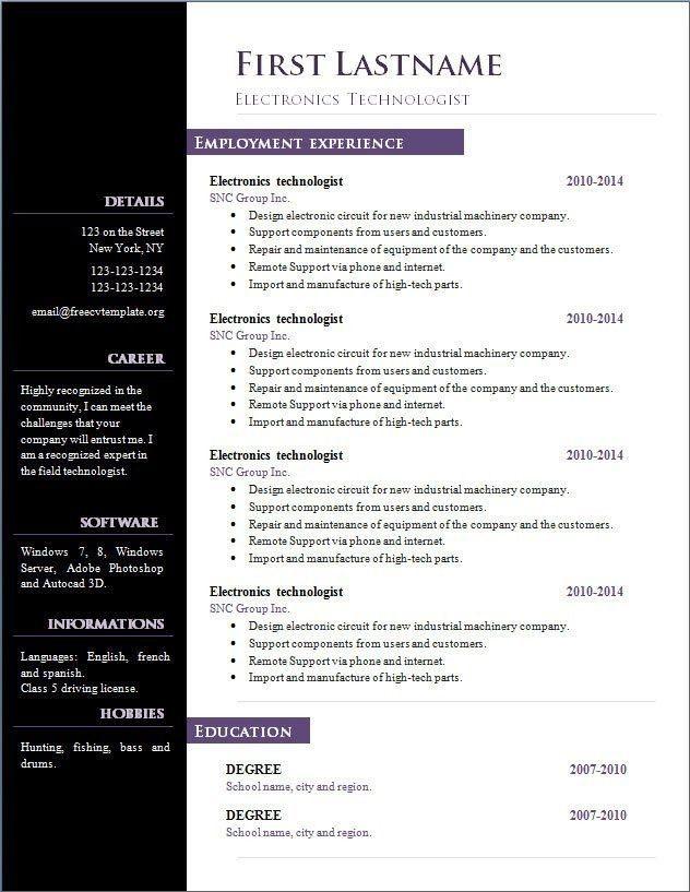 Free Resume Templates Office 2007 3-Free Resume Templates