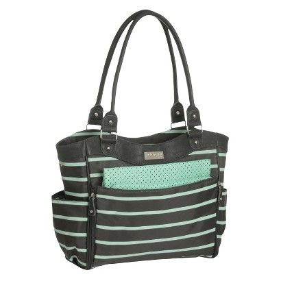 Carters+JOY+Zip+Down+Front+Fashion+Tote+Diaper+Bag+-+Black/Mint+Green