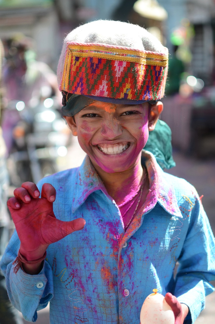 Winner of the Local Friends Category - Young boy in action for Holi Festival in Udaipur, India. Photo by Justin Pearson #hearttravel
