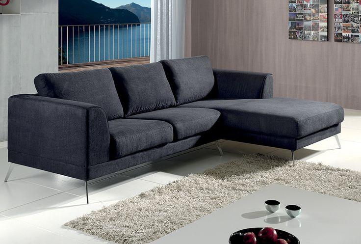 Canapé d'angle AXIT. Tissu 100% polyester. Coloris : Lugano gris ou bleu. Microfibre 100% polyester. Coloris : Reno gris clair ou anthracite.