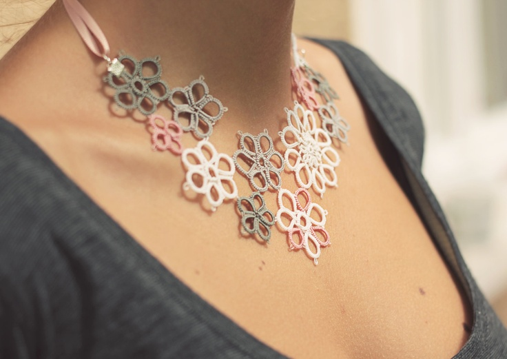 perfect gift for her - handmade tatted floral necklace - asymmetrical lace decoration.