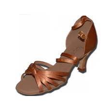 "Loops 210 tan  Loops of Dance 210 Tan 2.5"" and 3"" flare heel from satin. Leather sole ideal for all latin dances: salsa, rumba, chacha, mambo etc.   Satin bag included.  Price: 45.00€"