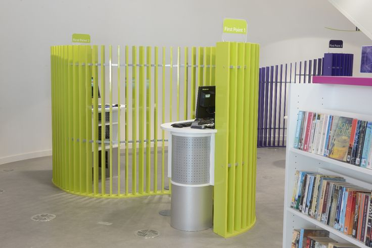 First Point customer service desk - offers triage service on ground floor alongside Quick Choice library offer