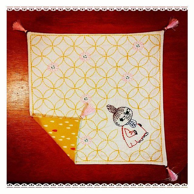 ムーミンのタグ入れ忘れた#どんまい  #刺し子 #刺繍 #針仕事 #ムーミン #ミィ #リトルミィ #趣味 #embroidery #needlework #sewing #moomin #hobby