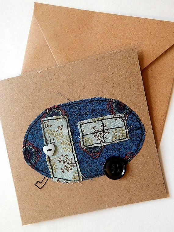 fabric card, Hand stitched greeting card, blue caravan card, travelling card, card for girls, holiday home thank you card, mobile home