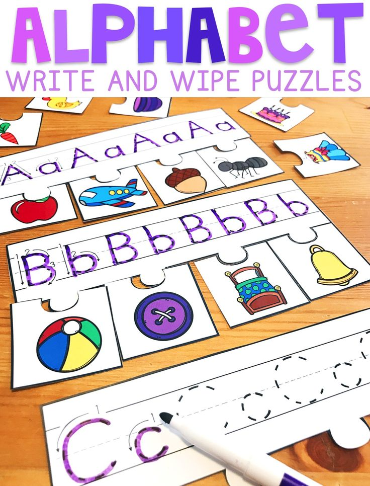 Alphabet Write and Wipe Puzzles are a resource that can be used as a literacy center for early primary students. Just laminate and cut!  Students will practice upper and lowercase letter formation, and then find the picture on the puzzle pieces that start with each letter. Letters up top can be easily wiped off when using a dry erase marker!
