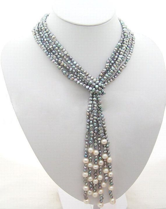 Classic Design Multi-Strands Lime Green freshwater Pearl and Green Shell Twisted Necklace - Presented in a beautiful jewellery Gift Box 2TTA881g