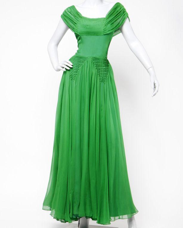 Vintage 1940's Kelly Green Silk Chiffon Full Sweep Gown Dress