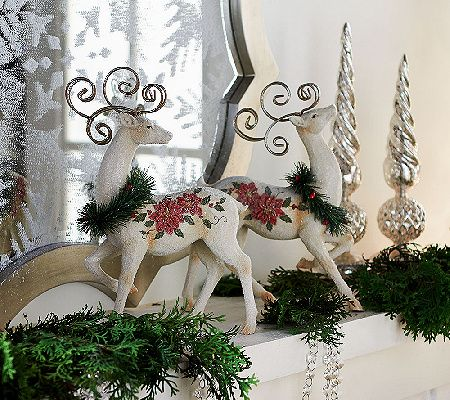 Regal reindeer. From Valerie Parr Hill, these embossed and sugared cream-colored reindeers strike majestic poses, making them an elegant addition to any holiday decor. QVC.com