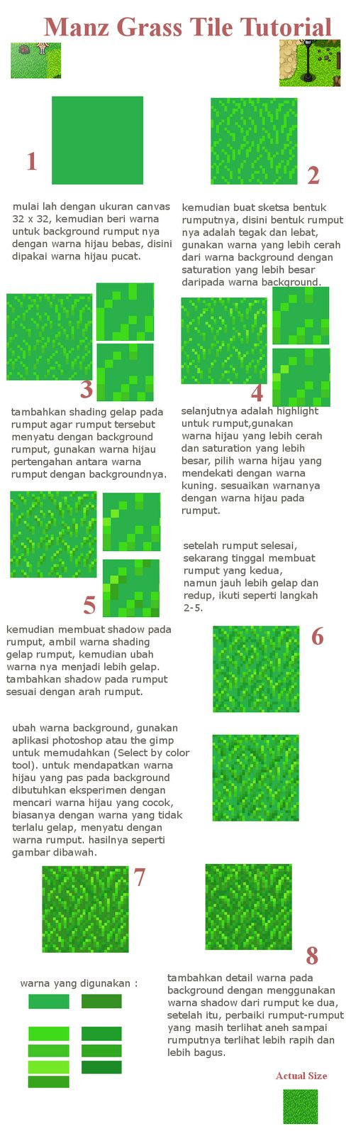 This time I want to give a tutorial how to make grass tile that you can use it to your own game or whatever you want. This tutorial is ...