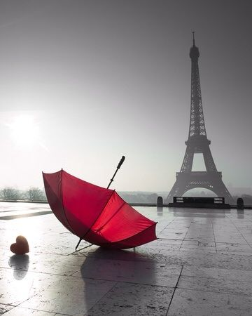 Paris and the red umbrella